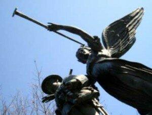 War memorial angel with soldier